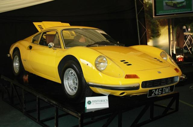 A record 155 classic cars spanning 50 marques and 91 years greeted the biggest ever attendance at Historics at Brooklands sale. It proved to be an Italian feast, with a bright yellow 1972 Ferrari 246 Dino GT soaring above estimate to £248,640.