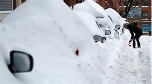 CARS PARKED AND BURRIED BY PLOWS AND SNOW FALL